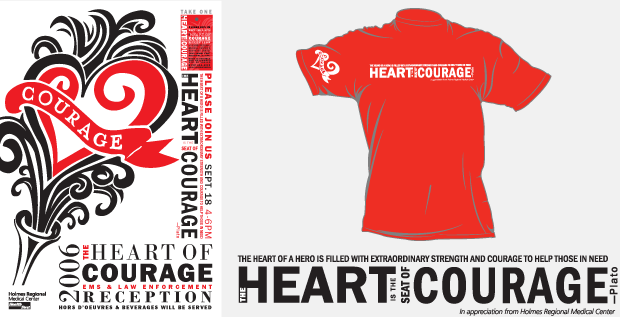 Shirt Design / display design / Facility Launch - Health First Heart Center