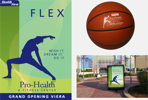 Health First Pro Health & Fitness Campaign / Direct Mail / signage