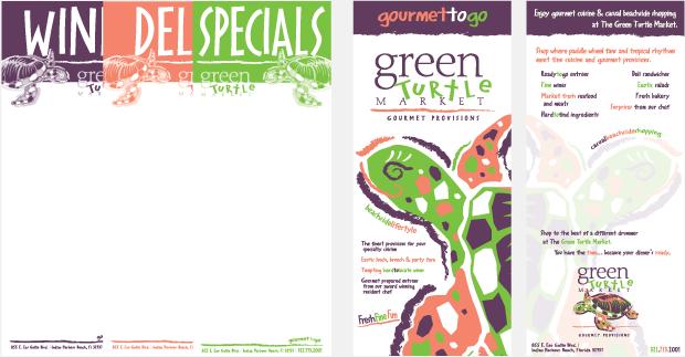 green turtle market menu design