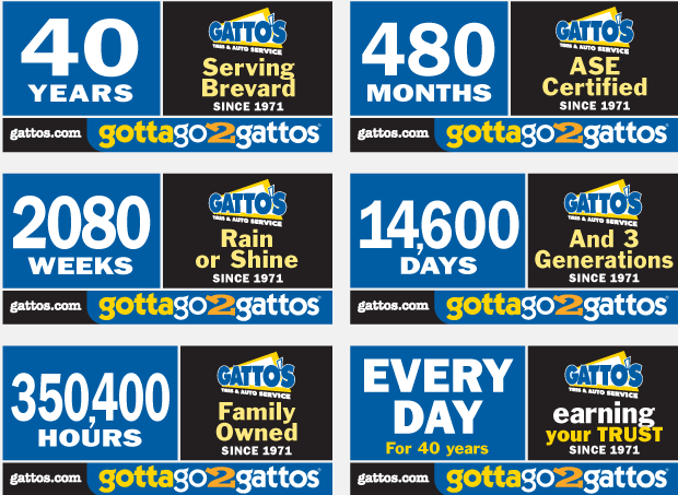40th Anniversary Billboard Campaign Development - Gatto's Tires & Auto Service