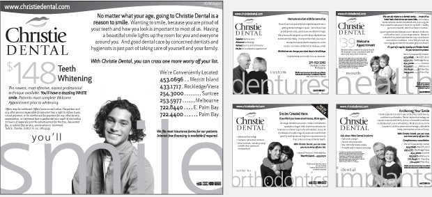 Christie Dental Portfolio Newspaper Advertising Campaign