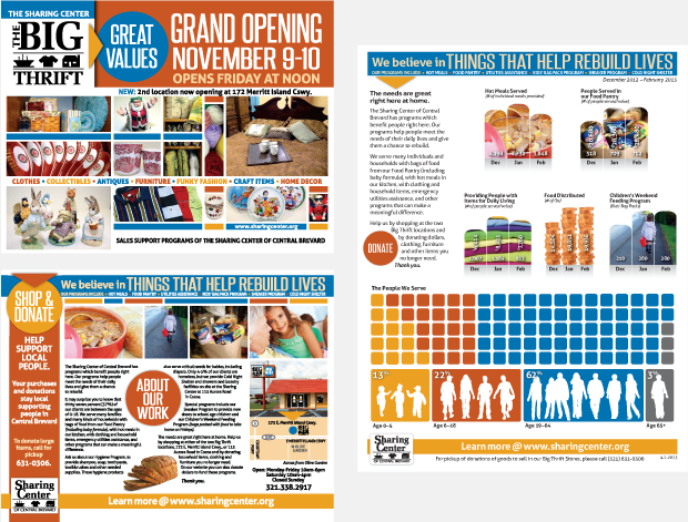 Sharing Center of Central Brevard:  Brand Development / Insert Design