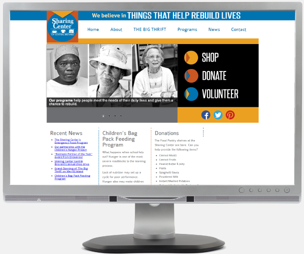 Sharing Center of Central Brevard:  Brand Development / Website Design / WordPress